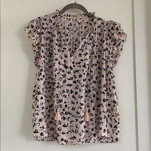 ulla johnson floral cotton and silk top